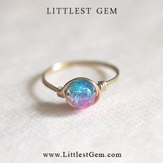 Blue and Pink Ring - unique rings - wire wrapped jewelry handmade - custom ring
