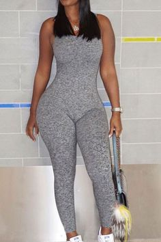 ea9f423a8d98 Roaso Sleeveless Backless Grey One-piece Skinny Jumpsuits