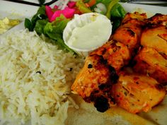 Chicken kebabs w/ basmti rice and tahini sauce…and of course, HUMMUS :)it was a gooood lunch at Tabouli