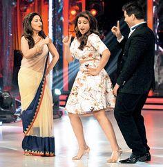 Madhuri Dixit, Parineeti Chopra and Karan Johar on 'Jhalak Dikhhla Jaa'. #Bollywood #Fashion #Style #Beauty