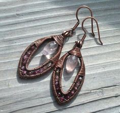 Rose Quartz and Pink Tourmaline Wire Wrapped Copper by GarnetRoses, $38.00