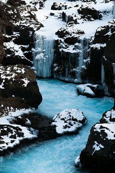 Waterfalls in Barnafoss, Iceland