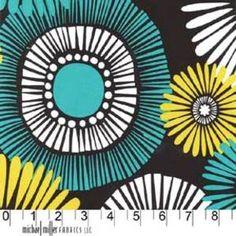 Michael Miller House Designer - Mod Prints - Straw Daisy in Lagoon