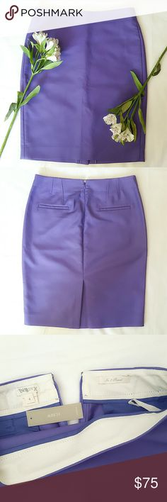 "J. Crew No.2 Pencil Skirt A true design icon, meticulously shaped and seamed to figure-flattering perfection (always sharp and to the point, the No. 2 pencil will be your wardrobe's most noteworthy addition). Crafted from structured double-serge cotton that's comfy three seasons a year in a bright and beautiful purple color.  Double-serge cotton with a hint of stretch. Sits at waist. Back zip. Back welt pockets. 22"" long. Dry clean. J. Crew Skirts Midi"