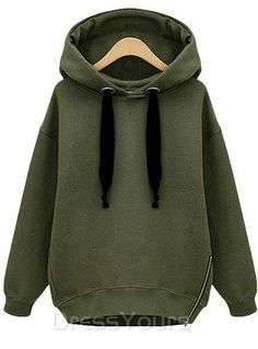 Casual Europe Style Solid Color Hooded Thick Hoodie: dressyours.com