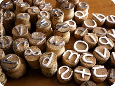 Make stamps with craft foam and old wine corks. -- it's a good repurposing idea!