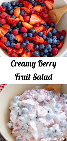 This Creamy Berry Fruit Salad is filled with lots of delicious fresh berries in whipped cream and yogurt. It's the perfect summer side dish for any family gatherings or just a light dessert after a summer BBQ meal out on the porch. Easy Healthy Recipes, Quick Easy Meals, Summer Recipes, Holiday Recipes, My Favorite Food, Favorite Recipes, Salad Recipes, Dessert Recipes, Creamy Corn