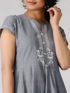 2eb62c1d9 Buy Grey Hand embroidered Cotton Chambray Kali Kurta Women Kurtas Call It  Summer Cool with details