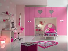 Built in wardrobe along wall with bed and shelves, great space saver Bedroom Design For Teen Girls, Modern Kids Bedroom, Modern Kids Furniture, Girls Bedroom Furniture, Teen Bedroom Designs, Bedroom Bed Design, Kids Bedroom Sets, Home Room Design, Bedroom Decor