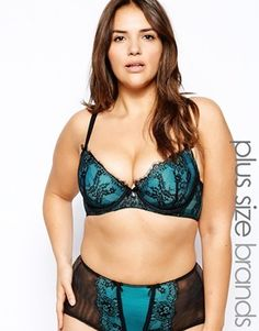 Dita Von Teese Savoir Faire Full Figure Bra - Peacock/black lace