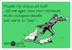 Funny Reminders Ecard: Muzzle my vicious pit bull? ...tell me again how your miniature multi-cockapoo-doodle just wants to 'play'...