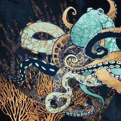 Metallic Octopus II Canvas Artwork by SpaceFrog Designs Octopus Artwork, Octopus Painting, Canvas Artwork, Canvas Wall Art, Canvas Prints, Art Prints, Guache, Framed Art, Graphic Art