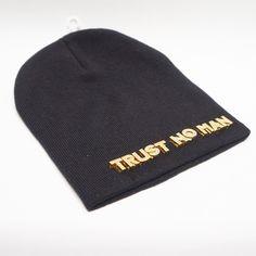 """""Trust No Man"""" Beanie Gold Accents"