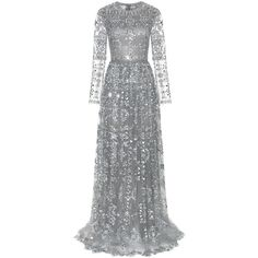 Valentino Embellished Tulle Gown (32,935 CAD) ❤ liked on Polyvore featuring dresses, gowns, long dresses, valentino, grey, cocktail/gowns, gray evening dress, long grey dress, long evening dresses and evening dresses
