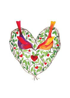 Love Birds Watercolor Illustration Print by BarbaraSzepesiSzucs, $25.00