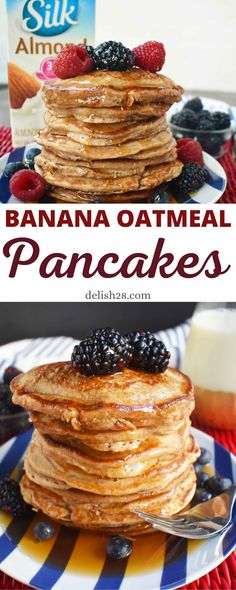 Breakfast Recipes, Dessert Recipes, Breakfast Ideas, Light And Fluffy Pancakes, Banana Oatmeal Pancakes, Dairy Free Pancakes, Cream Cheese Coffee Cake, Yummy Food, Delicious Recipes