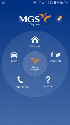 Inicio de la APP de MGS Seguros Finance, Android, Free, Chart, Blog, Maps, Vans, Social Networks, Parts Of The Mass