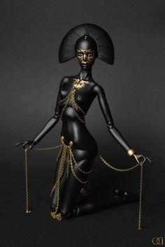 Rorshah III by ~od-dolls, bjd: Ooak Dolls, Barbie Dolls, Tiny Dolls, Creepy, Pin Up, Black Barbie, Arte Pop, Black Women Art, Art Moderne
