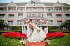 Groom dipping his bride - love this photo! Outdoor wedding at Disney's Yacht Club Resort's Wedding Gazebo