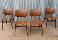 €250,- eetkamerstoelen, stoelen, vintage, retro,skai, bekleding, gemeleerd, bruin, jaren, 50,60