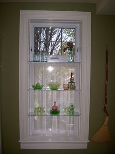 kitchen window with glass shelves