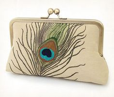 Peacock feathers, luxury silk and linen clutch bag by Red Ruby Rose £85
