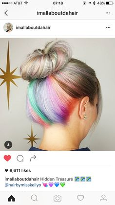 Love this. Hidden colours. Love hidden undercuts and hair tattoos as well. Let your freak flag fly, but be selective about time and place. Best of both worlds. #hairdare