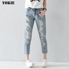 Plus size Hole ripped women harem pants loose ankle-length pants Boyfriends For woman Ladies skinny jeans Ripped Women, Womens Ripped Jeans, Jeans Denim, Jeans Skinny, Jeans Pants, Harem Pants, Capri Trousers, Low Cut Jeans, High Waist Jeans