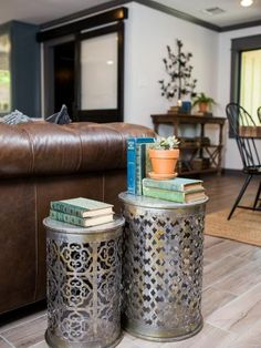 A close up of the metal side tables in the living room of the newly renovated Jones home, as seen on Fixer Upper. (after)