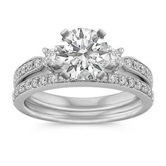 Three-Stone Round Diamond Wedding Set with Pave Setting and Milgrain Detailing