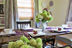 Tablescape for Fall using Purple & White@ Rustic-refined.com