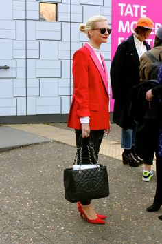 Love the red shoes.  JOURNALIST, PANDORA SYKES - LONDON FASHION WEEK - FEBRUARY 2013