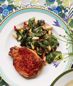Pork Chops With Chard and White Beans from realsimple.com #myplate #protein #vegetables
