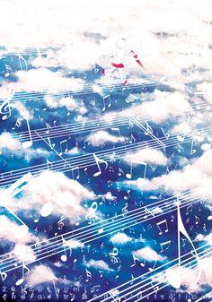 anime girl running on music score