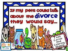 Children have an easier time talking about their feelings if they are speaking for someone else. Through the eyes of their pets, these task cards include helpful questions that promote hidden feelings related to a child's parent's divorce. Effective for both individual and group therapy.Product includes:84 task cards with therapeutic questions related to divorce.8 task cards specifically for children with same sex parents.11 coloring pages that include healing affirmations to be used…