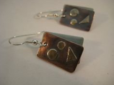 Mixed metal earrings copper with silver embellished by RustyWing, $25.00
