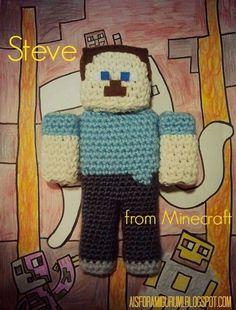 Handmade Minecraft Steve Crochet Amigurumi Free Pattern - Crochet Craft, Crochet Minecraft