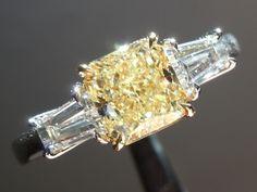 Three Stone Yellow Diamond Ring