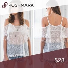 F I N A L  P R I C E • NWT Lace Off Shoulder Tunic Perfect as a swim cover up! Available in S or L. Boutique Tops