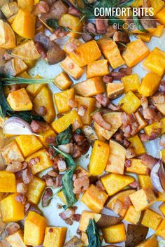 Roasted Butternut Squash and Sweet Potato with Pancetta, Garlic and Sage from Comfort Bites Blog (AIP friendly)