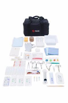 Complete Laceration Repair Kit - Dermabond, Skin Stapler, Sterile Disposable Laceration Tray,Splash Guard, suturing instruments, Sutures (Ethilon, Vycryl), 3M Steri-strips, Stik It (Mastisol Equivalent), Staple Removal Kit, Suture Removal Kit, Sterile 4x4 Gauze, Providone-Iodine Swabsticks, Sterile Surgical Gloves, #11 Disposable Scalpel, Finger Tourni-cot, Surgical Scrub Brush, Sterile Saline (240 ml), 60 ml Syringe,  Coban, Medical Bag