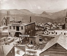 Virginia City, Nevada. The town sprung up out of nowhere with the discovery of the Comstock Load, one of the richest mines in the Old West. This picture was taken in 1866, which would have been in the very early days of the town.