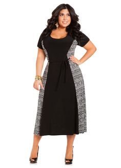 Abstract Print Maxi Dress - Ashley Stewart