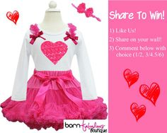 "It's Share To Win Time at born Fabulous Boutique!    1) ""Like"" Us! 2) ""Share"" photo! 3) Comment below with size choice (1/2, 3/4 or 5/6)  One random winner will be chosen! :) #sharetowin"