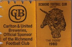 The year of our last premiership. Richmond Football Club, Season Ticket, Museum, Tigers, The Unit, Logo, Yellow, Cards, Logos