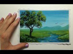 Видео урок Рисуем Гуашью Летний пейзаж №2 #Dari Art - YouTube