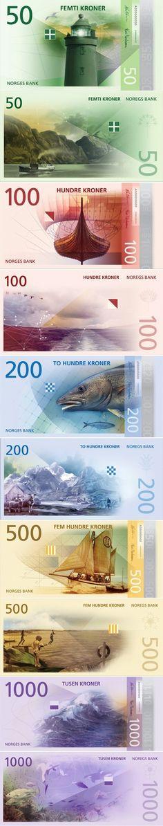 Norvegijos Kronos nauji banknotai. Inter Travel. Norway's New Banknotes