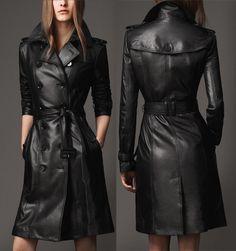 Cheap Mujeres de moda de manga larga chaqueta de cuero negro Casual capa larga. q1076, Compro Calidad Cuero y Ante directamente de los surtidores de China: