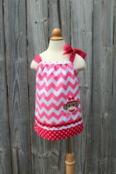 Sock Monkey Pillowcase Dress - Pink Chevron and Monkey Appliqué