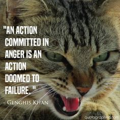 """#Quotes about #Karma - """"An action committed in anger, is an action doomed to failure."""" - Genghis Khan"""
